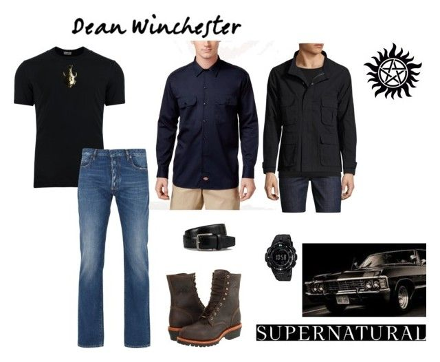 """Mystery Spot ~Dean Winchester"" by carlisafights ❤ liked on Polyvore featuring Dickies, Dolce&Gabbana, Maison Margiela, Chippewa, Casio, Tod's, Shades of Grey by Micah Cohen, men's fashion, menswear and supernatural"