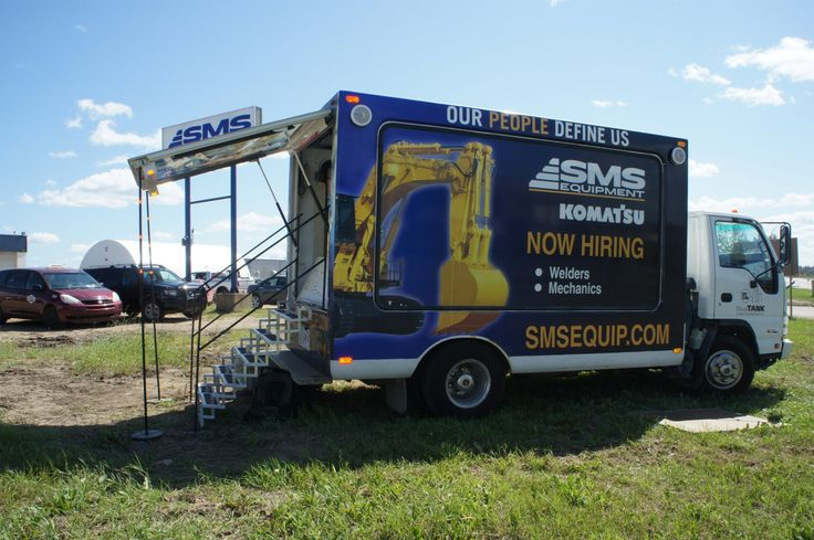 SMS Equipment utilized the Mobile Showroom as part of a huge recruitment campaign.  #recruitmentads #recruitment #recruitmentadvertising
