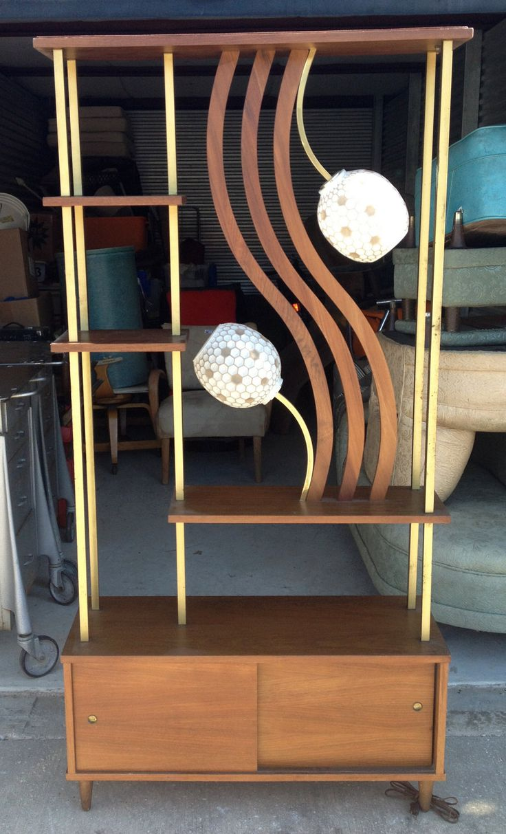 Vintage Mid-Century Modern Room Divider with shelving and lamps
