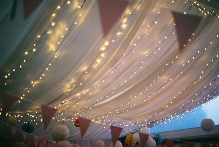 Our Marquee Ceiling at Night - Lusty Glaze Beach Weddings
