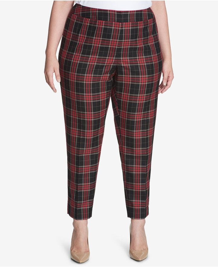 2163a6a3d Tommy Hilfiger Plus Size Plaid Pants, Created for Macy's | Womens ...