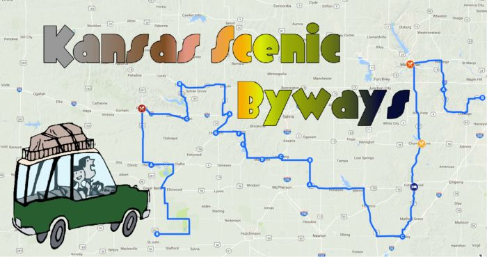 "Welcome to the Scenic Byway tour of central Kansas! <br>  </br> <a href=""https://drive.google.com/open?id=142eofO26xGdPlwgjj_DpBQcIW64&usp=sharing"" target=""_blank"">Here's the link to the map,</a> which includes directions in sections, as well as the stops you'll take along the way."