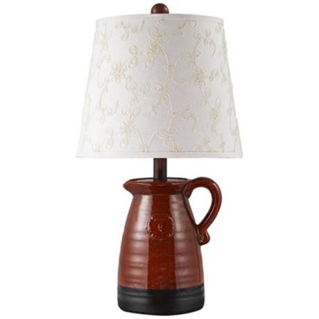 Hillside Pitcher Brick Red And Black Table Lamp