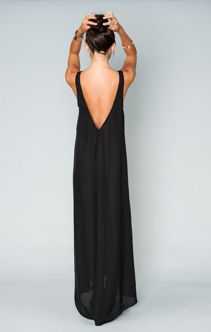Mumu - Kiersten Maxi Dress - Black Silky Satin   Show Me Your MuMu