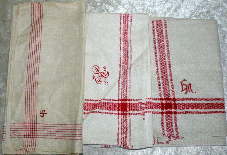 Konvolut 3 alte Leinen Handtücher rot-weiß mit Monogramm