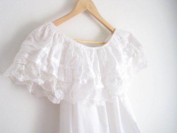vintage white blouse / mexican off shoulder shirt by helloambition