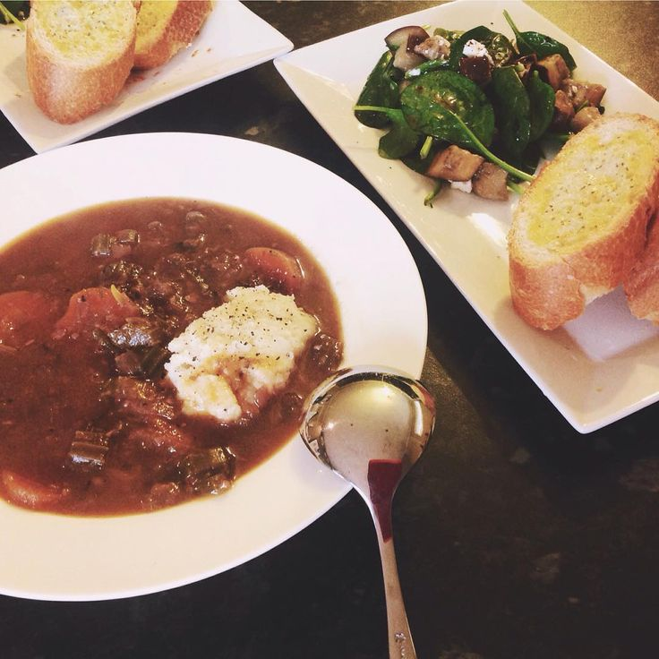 Sunday night: Lamb stew + spicy eggplant salad & garlic bread # ...