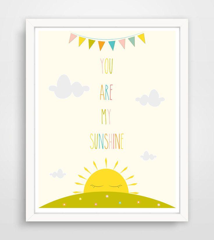 You are my Sunshine Wall Art Kids, Nursery Song, Rainbow Print, Baby Nursery Art, Yellow Sunshine Print for kids Room Art by KZukowski on Etsy https://www.etsy.com/listing/177760698/you-are-my-sunshine-wall-art-kids