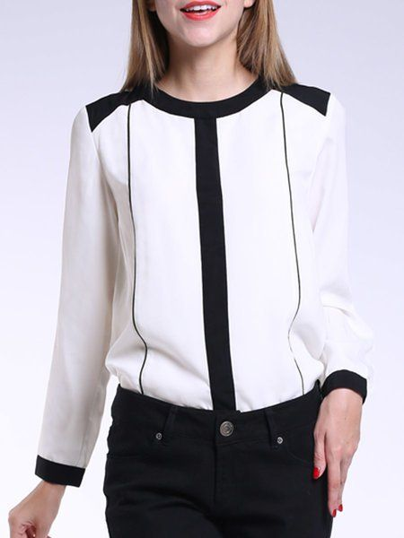 Shop Blouses - White Chiffon Plain Long Sleeve Blouse online. Discover unique designers fashion at StyleWe.com.