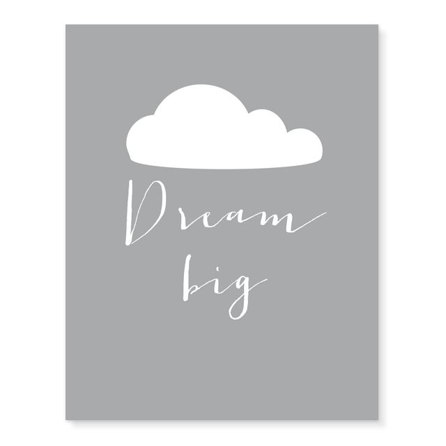 Dream Big Nursery Print - This would be adorable in a nursery or kids room gallery wall. Just add a simple white frame and voila, the perfect print! #PNshop