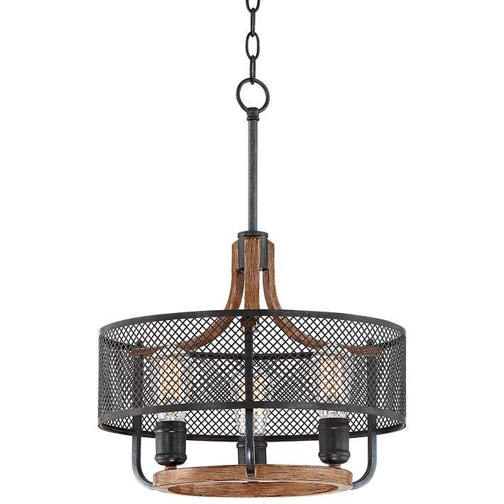 Halvor 15 3 4 Wide Black Mesh And Wood 3 Light Pendant 46g99 Lamps Plus 3 Light Pendant Pendant Lighting Light