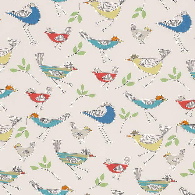 Buylittle home at John Lewis Stick Birds Furnishing Fabric, Multi Online at johnlewis.com