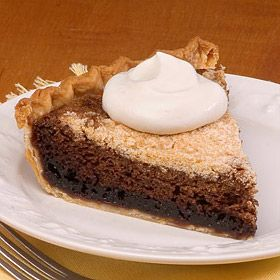 Favorite Shoofly Pie has a dark molasses filling and is best served warm and topped with whipped cream