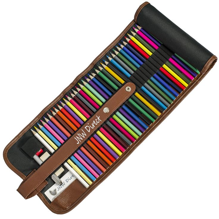 JNW Direct Colored Pencils, Best Coloring Pencil Set for Adults & Kids, Includes 48 Beautiful Colors with BONUS Roll-up Case and Accessories, Great Gift Idea this Christmas