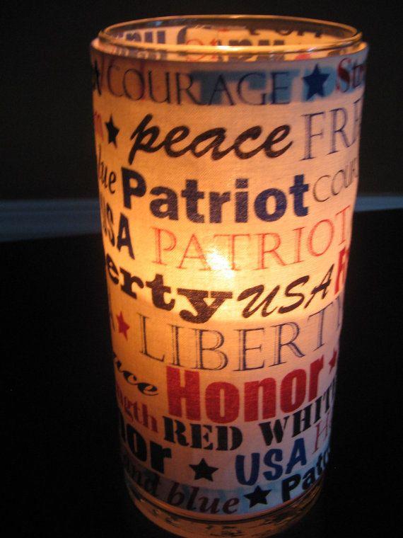 Patriotic Decorative Candle Holder  Home Decor by KBDecorDesigns, $10.99