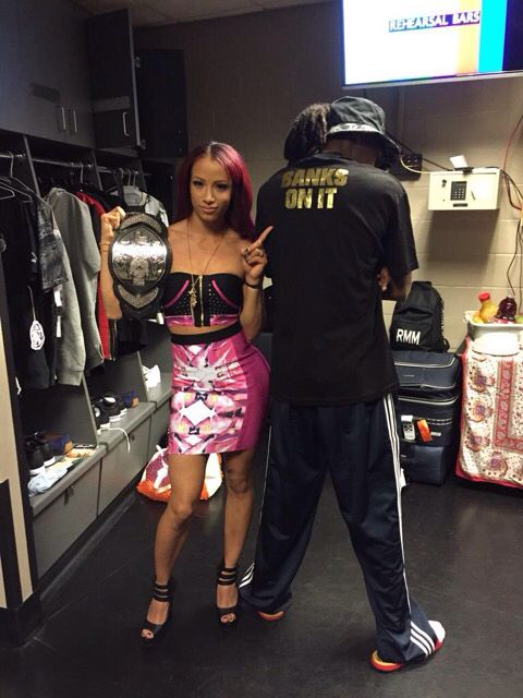 Sasha Banks with her cousin, Snoop Dog