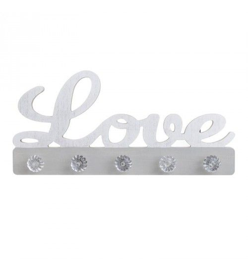 WOODEN HANGER 'LOVE' IN WHITE_GREY COLOR 35X4X17