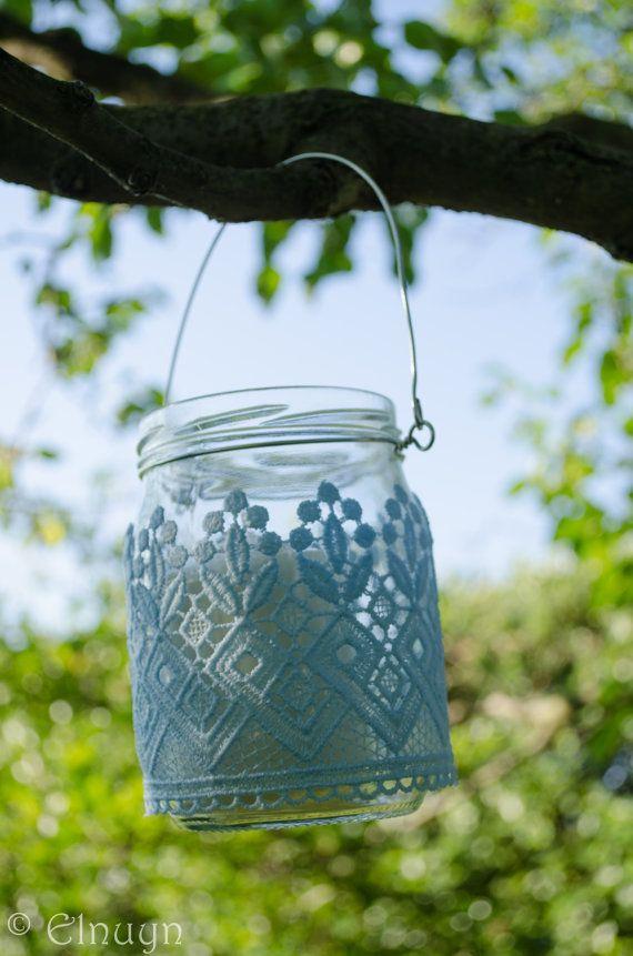 Upcycled Mason Jar Lantern Candle holder tree hanging door Elnuyn,