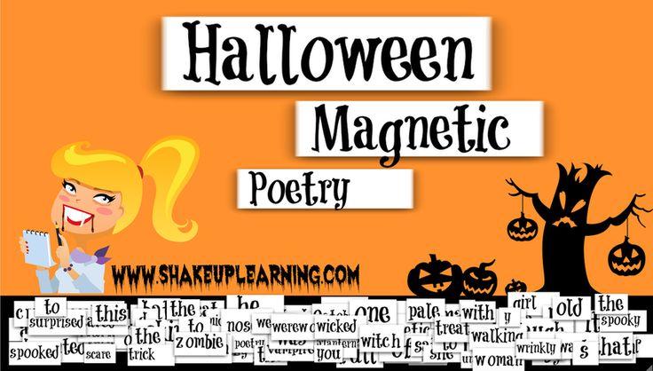 Halloween Magnetic Poetry in Google Drawing