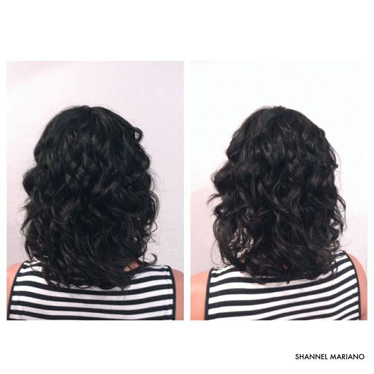 Medium length haircut naturally curly hair