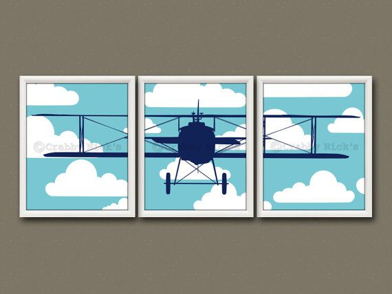 8x10 3 nursery prints nursery art nursery decor Vintage airplane decor for nursery