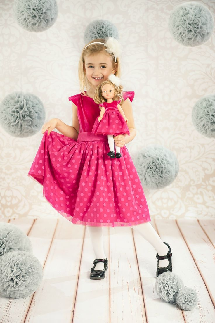 La Lalla doll that resembles your child. Youry little girl will have twin sister. Royal pink princessa dress. Polka dotted tulle.   #Puppe #doll #lalka #customgift #gift #present