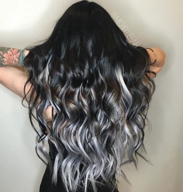 This black to silver ombre is everything.