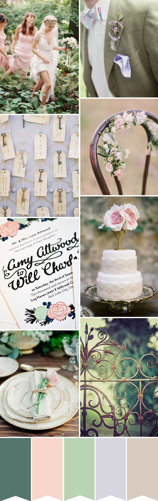 Wedding Color Palette of Blush Pink, Lilac, Purple, Sage Green - Secret Garden Wedding Inspiration
