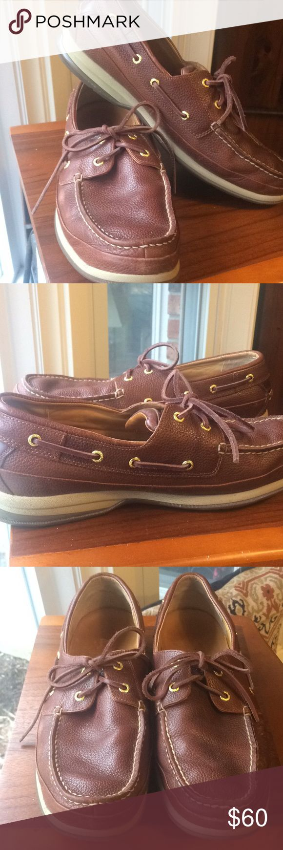 Men's Sperry Gold Cup Top Sider Boat Shoes Excellent gently used condition! Rich brown leather with hand sewn construction, anti-shock & vibration (ASV), 360' lacing system with 18k gold eyelets, genuine rawhide lace, non-marking rubber outsole with Wave-Siping provides ultimate wet/dry traction. Size 13. Original price $165. Sperry Top-Sider Shoes Boat Shoes