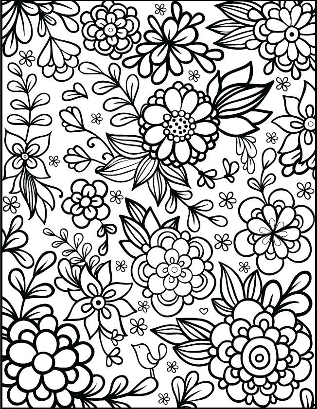 another coloring page that serves as embroidery inspiration to me - Flowers Coloring Pages