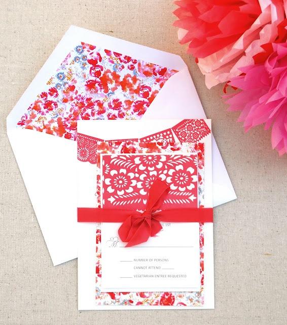 Papel Picado Custom Wedding Invitation @invitingaffairs.com