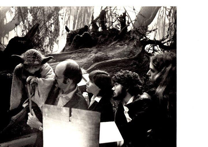"Frank Oz & team operating Yoda in the Dagobah swamp set from ""Empire Strikes back"""