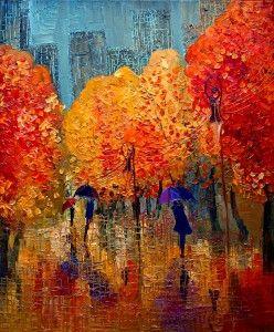 Painting, yellow orange fall trees reflect in rainwater on pavement.  Justyna Kopania - Autumn