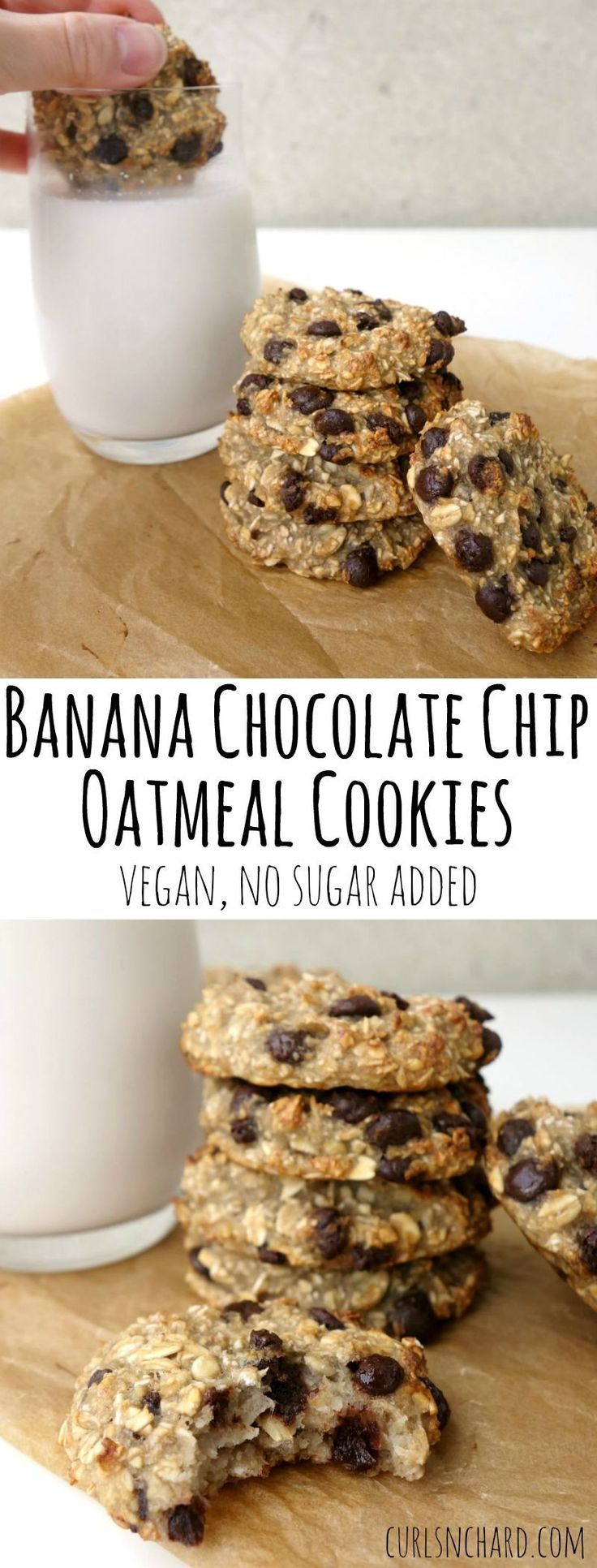 Banana Chocolate Chip Oatmeal Cookies recipe - 3 ingredients, no added sugar and naturally vegan. Ready from start to finish in 20 minutes. 2 banana's, 1 cup of Quaker oats and 3 Tbsp. of dark chocolate.. Bake @ 360 degrees for 15 minutes.