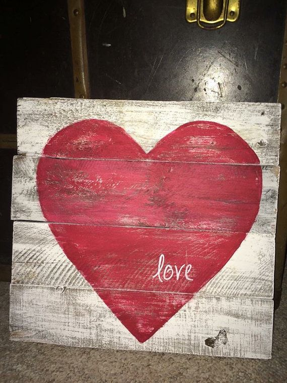 Valentines,Rustic wood heart love sign white paint with red heart approx 12x12, valentine sign
