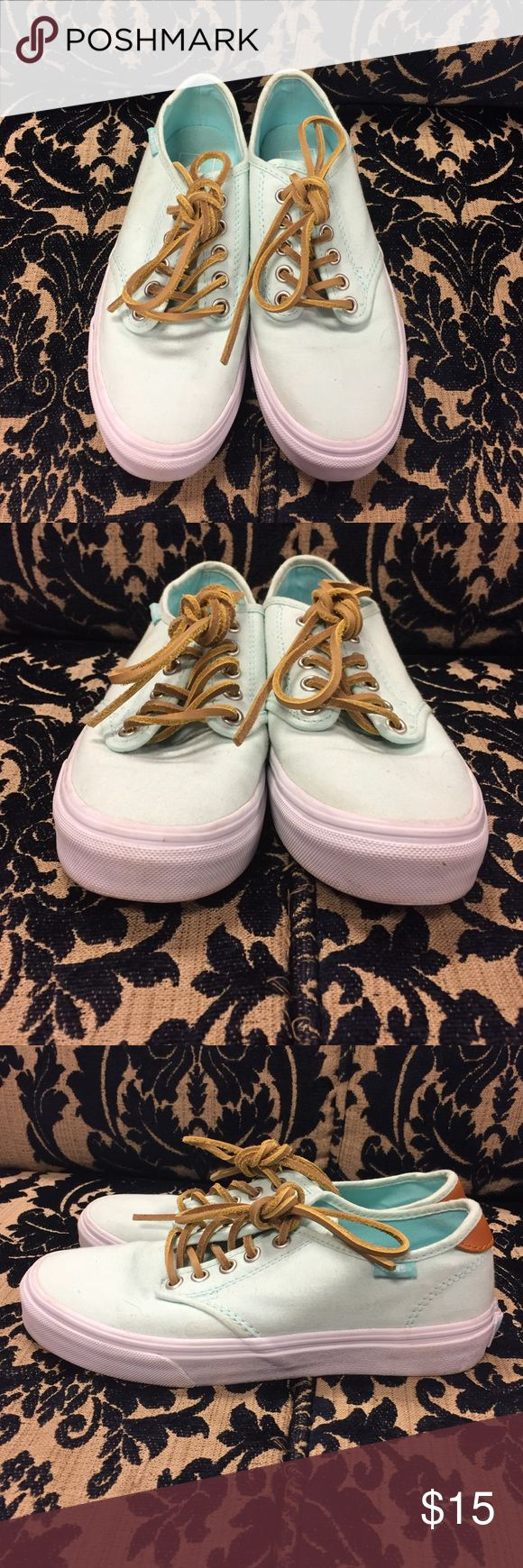 Mint VANS SIZE 6 WOMENS Cute mint vans, no rips of tears... little bit of wear on them but nothing major... all items come from a smoke free home.... check us out on IG @shopthebombshell Vans Shoes Sneakers