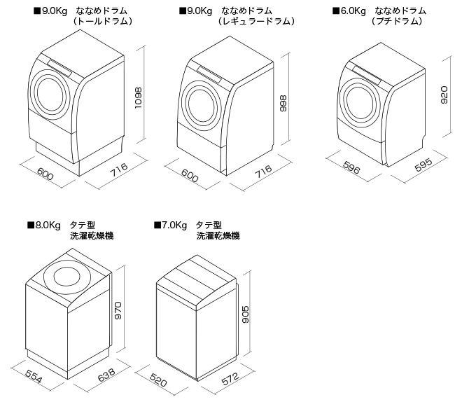 洗濯機の寸法図