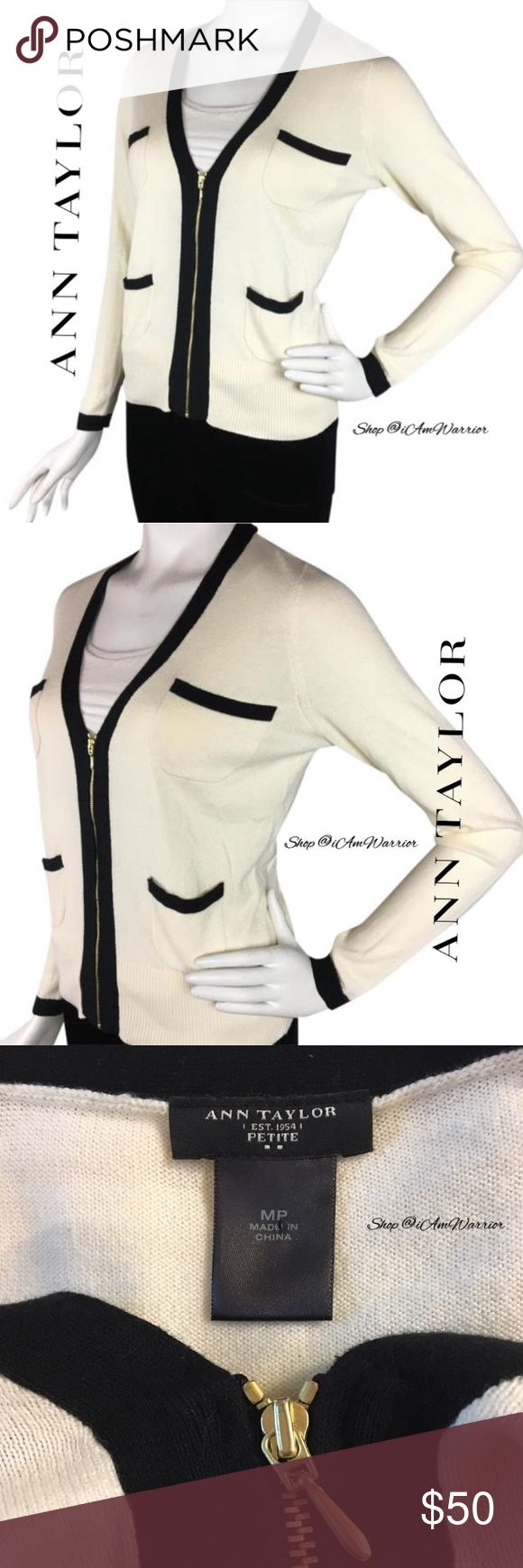 Ann Taylor cream zippered cardigan with black trim Cute little Ann Taylor cream zip up cotton blend cardigan with black trim. Size medium petite but can also work for a regular small. Perfect for Spring! Good condition, smoke free home. Please read recently updated bio regarding closet policies prior to any inquiries. Ann Taylor Sweaters Cardigans