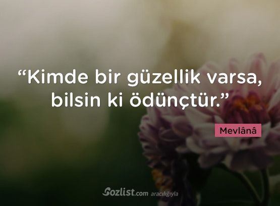 """""""Kimde bir güzellik varsa, bilsin ki ödünçtür."""" #mevlana #sözleri #yazar #şair #kitap #şiir #özlü #anlamlı #sözler"""