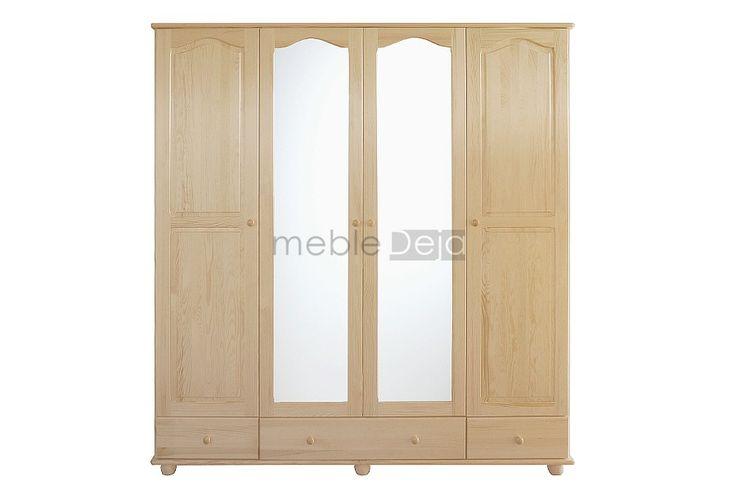 Szafa drewniana z lustrem wykonana w całości z drewna sosnowego. Jedynie na tyłach i dnach szuflad montowana jest płyta pilśniowa. Elementy są w 100% drewniane, fronty mebli wykonane są z bezsęcznego drewna sosnowego. Produkt dostępny w pełnej gamie kolorystycznej. WYMIARY ZEWNĘTRZNE szerokość: 200cm wysokość: 210cm głębokość: 57cm