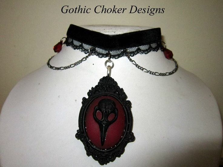 R160 approx $16 Purchase here: https://hellopretty.co.za/gothic-choker-designs/black-and-red-crow-choker