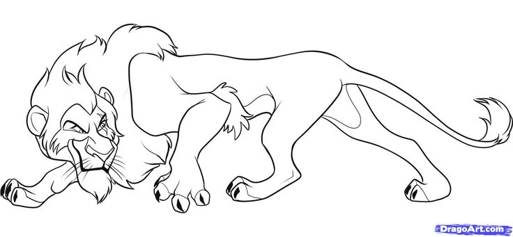 Baby lions art for kids how to draw scar from lion king for Scar coloring page