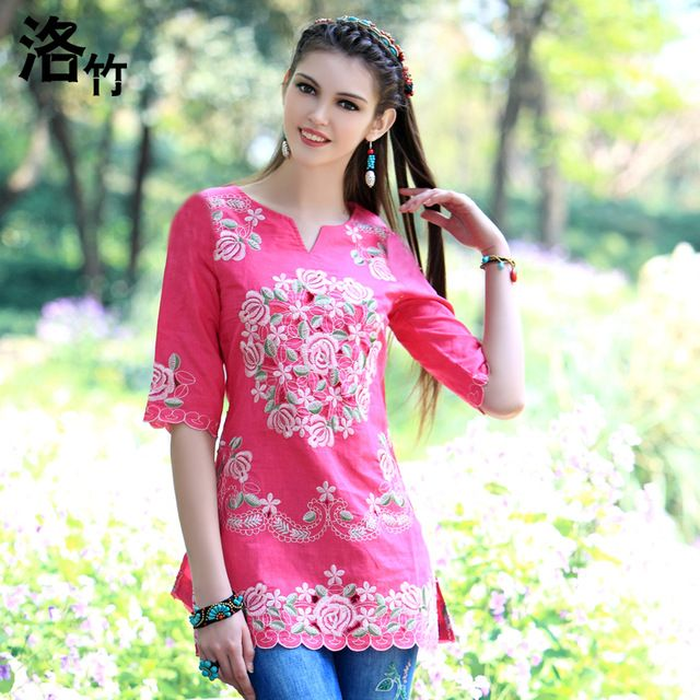 Bamboo 2015 cutout embroidered national trend clothes fluid embroidery medium-long slim shirt top women's US $65.30 /piece click the link to buy http://goo.gl/YJxPC6