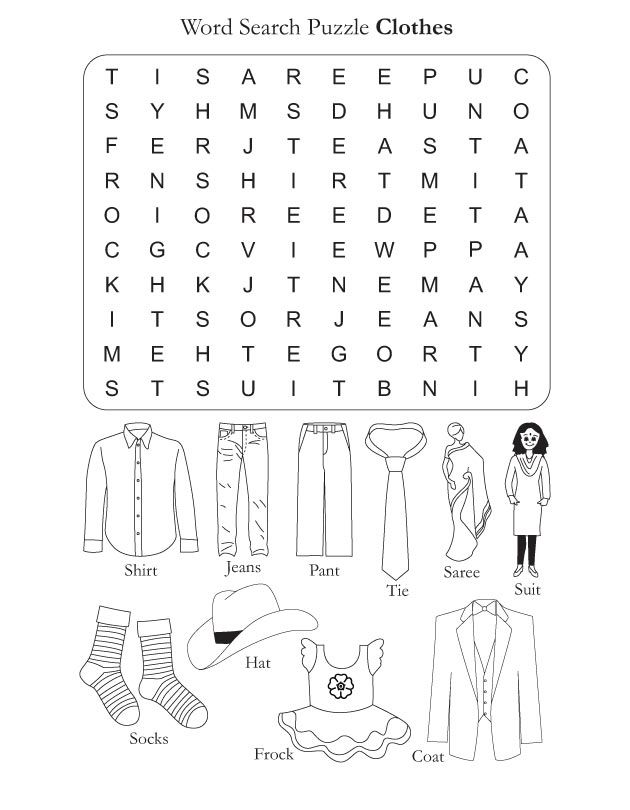 Word Search Puzzle Clothes