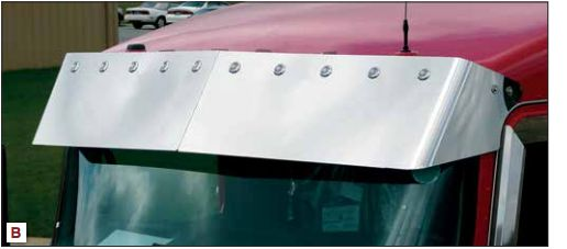 Visor Kenworth T660 T600 T800 13 Inches Curved Glass With Cast Mirror Brackets, Blind Mount Visor 10-3/4 Inches Light Holes
