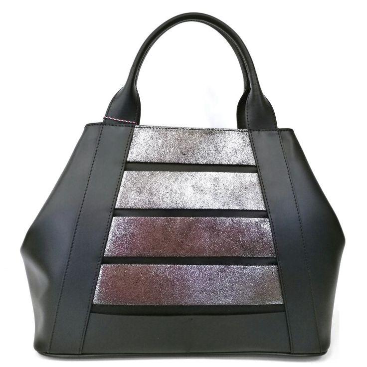 Art. M116 borsa in pelle ruga + crosta laminato