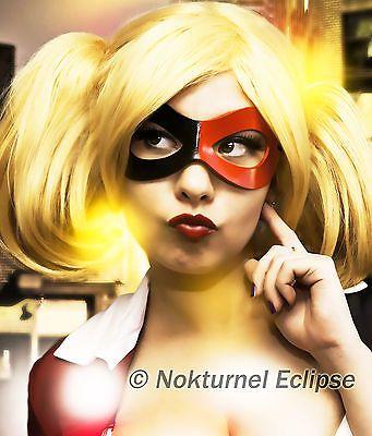 Black & Red Harley Quinn Leather Mask Halloween Batman Gotham Superhero Cosplay Comic Con