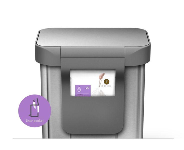 simplehuman | 30 litres, poubelle rectangulaire à pédale avec réserve à sacs, acier inoxydable