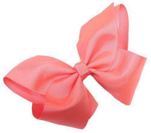 Extra Lg GrosGrain Bow Alligator Clip ~ Neon Pink Webb Direct 2U. $2.99