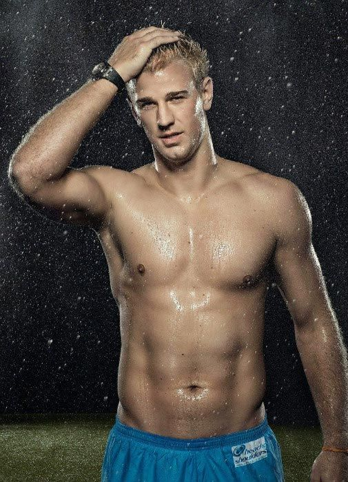 Joe Hart shows off his lean physique during Head & Shoulders advertisement photoshoot...